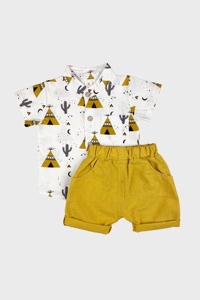 2 pc tee pee short set || gold