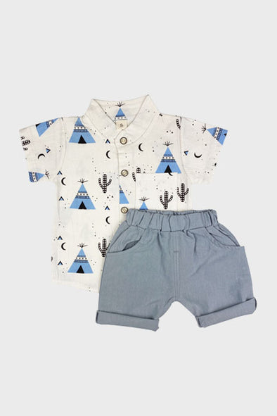 2 pc tee pee short set || blue