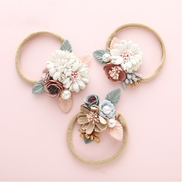 embellished floral headband || tan flower