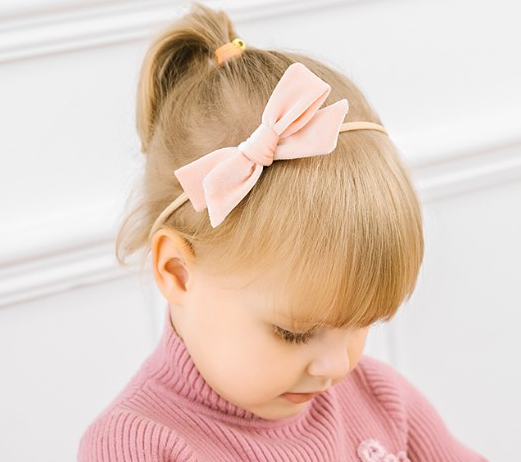 velvet bow headband || frost gray