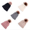 cable knit pom beanie || cream