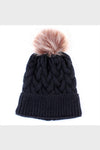 cable knit pom beanie || black