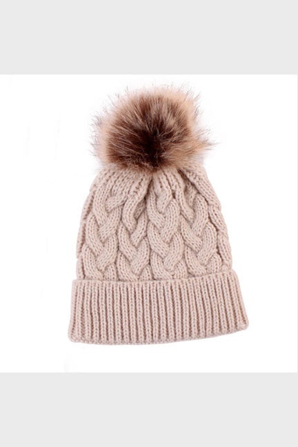 cable knit pom beanie || camel