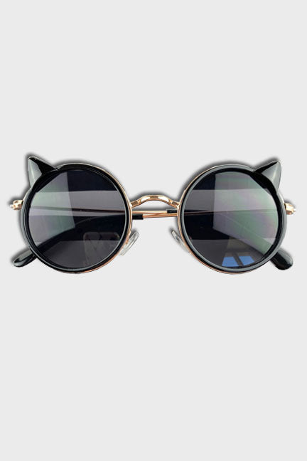 cat sunglasses || black gold