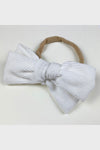 corduroy bow headband || white