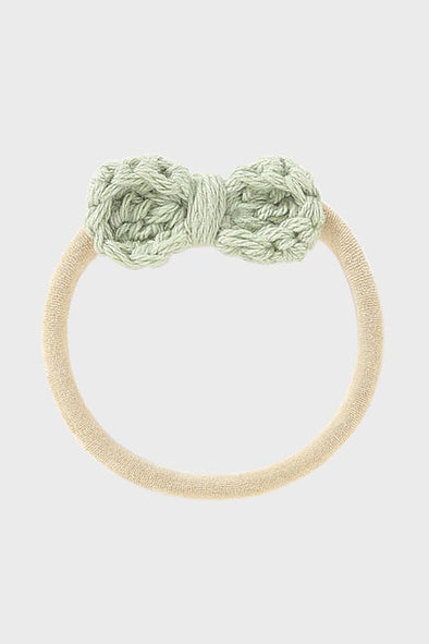 crochet bow headband || sage