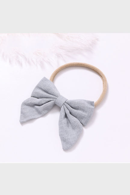 linen bow headband || vintage gray