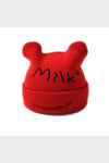 milk knit beanie || red
