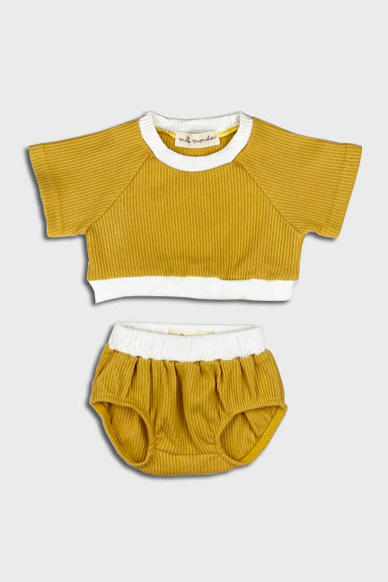 2 pc cropped set || honey gold