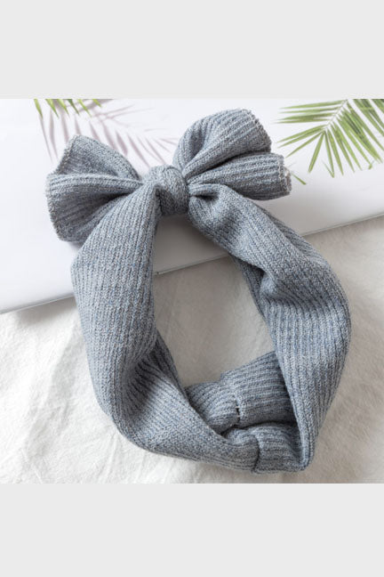 knotted turban headband || vintage blue