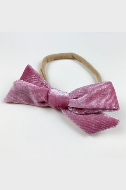 velvet bow headband || powder pink