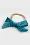 velvet bow headband || teal