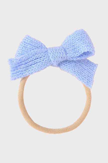 wool bow headband || cloud blue