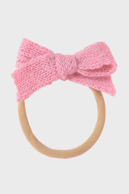 wool bow headband || rose bloom