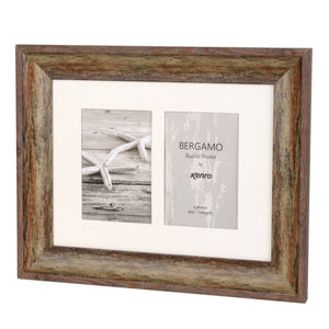 "Kenro Bergamo Rustic Brown Frame 2 photos 6x4"" / 10x15cm"