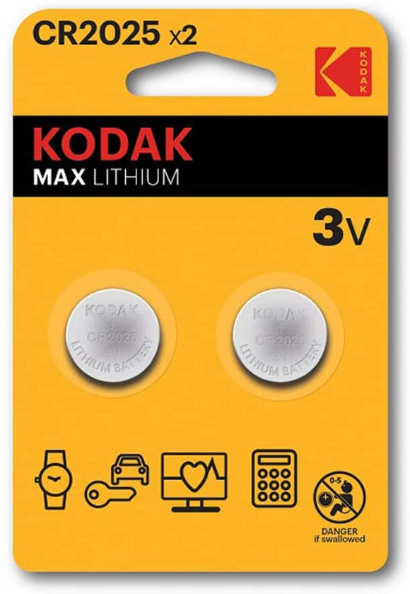 Kodak CR2025 Max Lithium Button Cell Battery Pack of 2