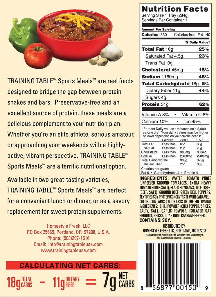 TRAINING TABLE SPORTSMEAL - Steak Chili W/ORGANIC WHOLE BLACK ...