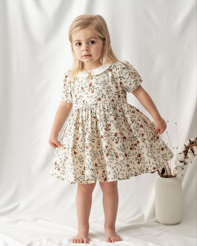 Organic cotton toddler clothes. Vintage toddler girls dress. Floral dress. Made of finest organic cotton. 100% certified by Global Organic Textile Standards (GOTS).