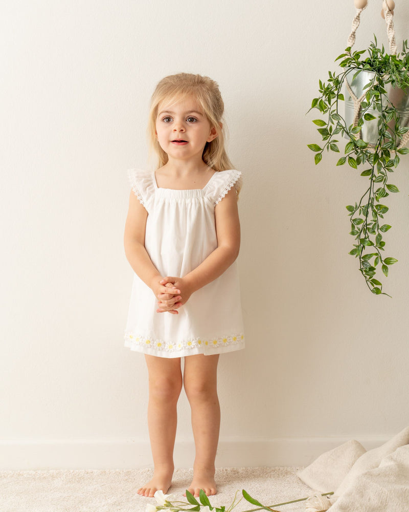 Organic cotton girls dress. Toddler girls sleeveless dress. Made from 100% organic cotton certified by Global Organic Textile Standard ( GOTS).