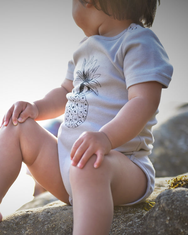 Organic Cotton Pineapple Bodysuit- Grey