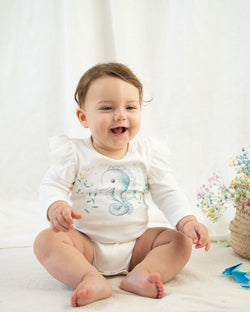 Organicline seahorse long sleeve bodysuit front view. Softly made from 100% GOTS certified organic.