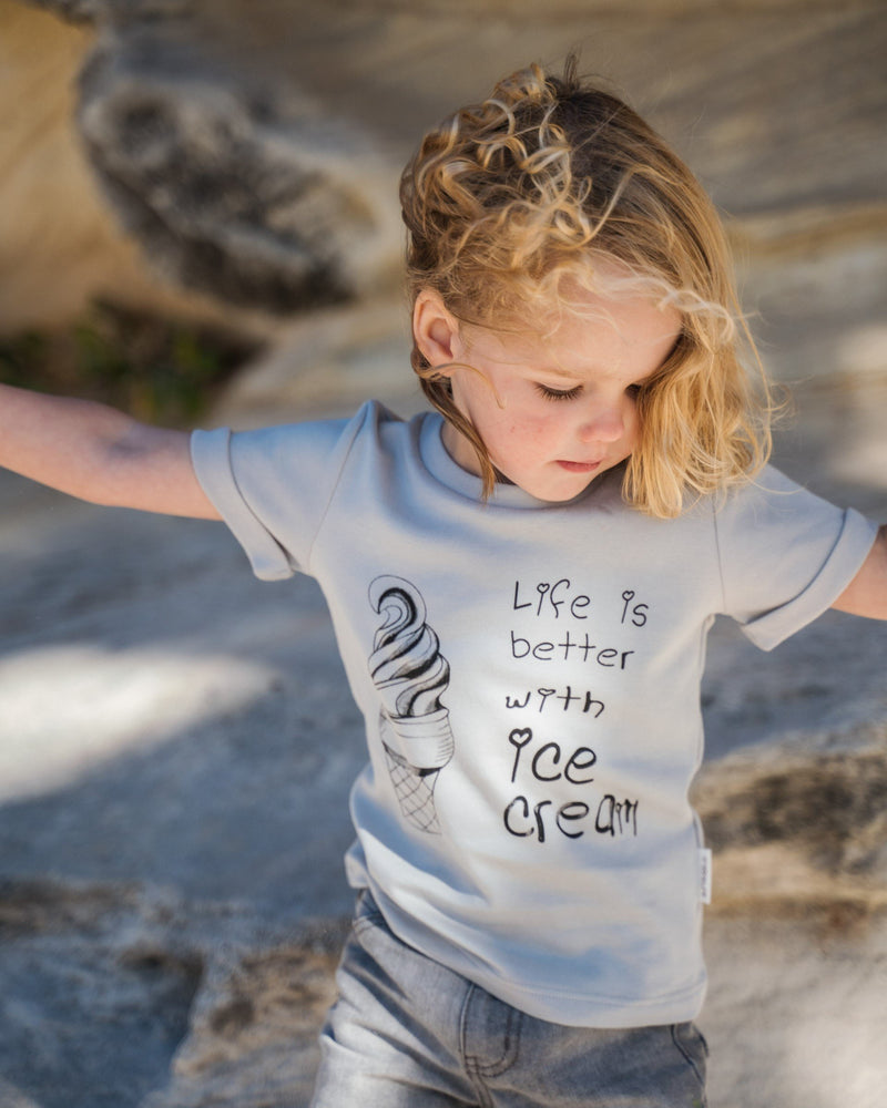 Organic cotton toddler boy T-Shirt. Life Is Better With Ice Cream. Hand Draw Ice Cream Tee. Made from 100% certified organic cotton.