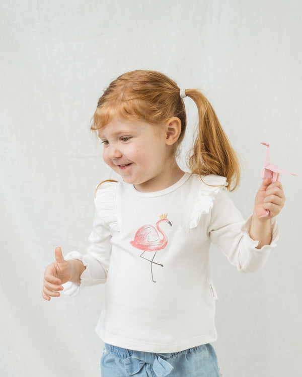 Organicline Flamingo Tee. Long sleeve. Made from 100% GOTS certified organic cotton.