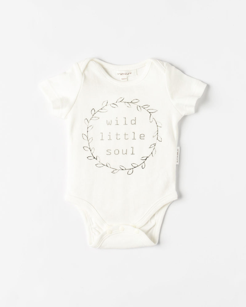 Organic Cotton Wild Little Soul Bodysuit - Natural White