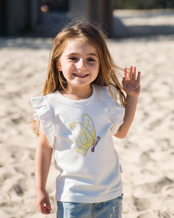 Organicline Butterfly organic cotton T-Shirt. Organic cotton toddler girls Top. Made from 100% certified organic cotton.
