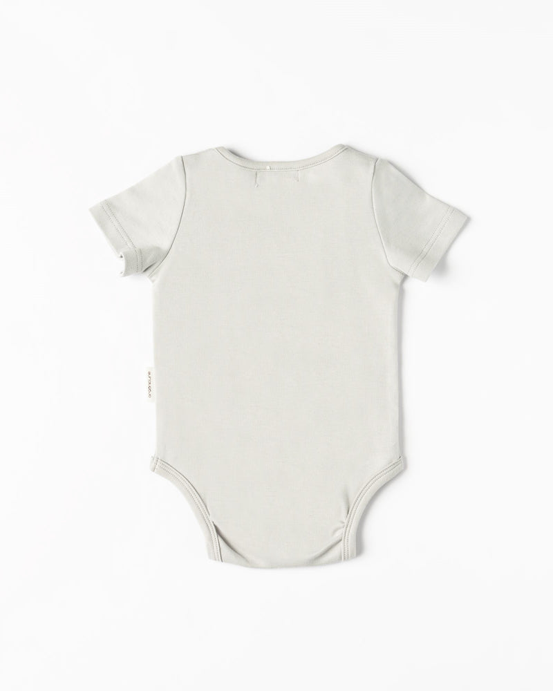 Organicline short sleeve Pineapple bodysuit- Silver grey -back view
