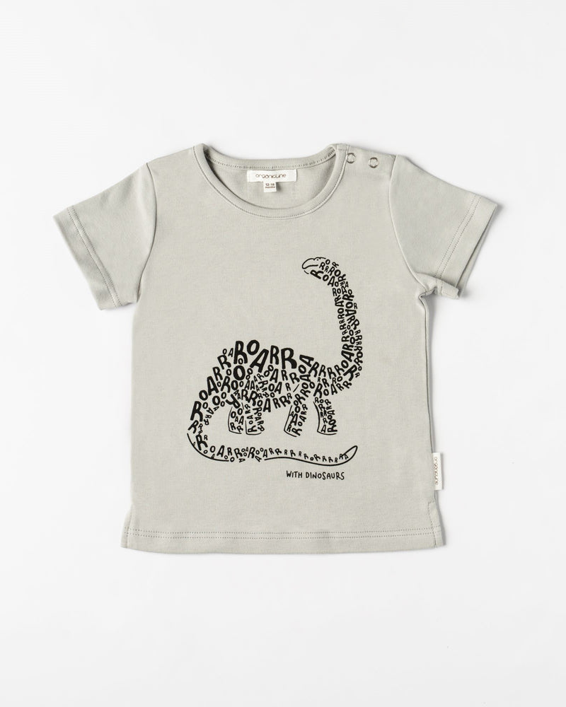Organicline Baby boy Dinosaur T-shirt-Sliver grey front view