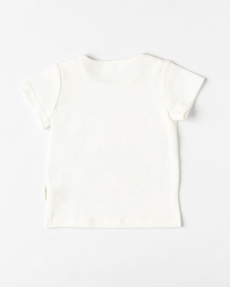 Organicline baby boy Dinosaur T-shirt - Natural white -back view