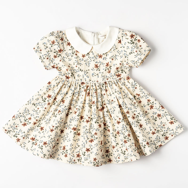 Organic cotton toddler clothes. Vintage toddler girls dress. Organicline floral dress. Made of finest organic cotton. 100% certified by Global Organic Textile Standards (GOTS).