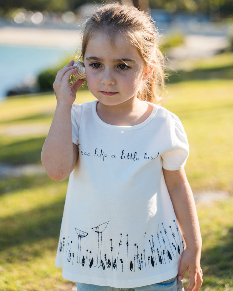 Organic cotton toddler girl T-Shirt . A-Line Tee. Made from 100% certified organic cotton.