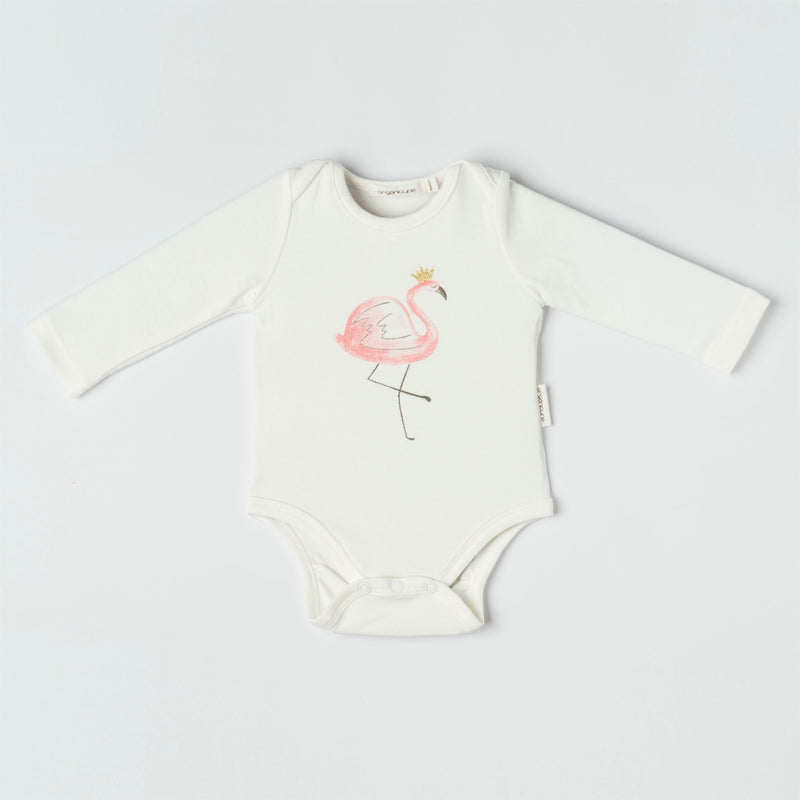 Organicline flamingo long sleeve bodysuit front view. Softly made from 100% GOTS certified organic.