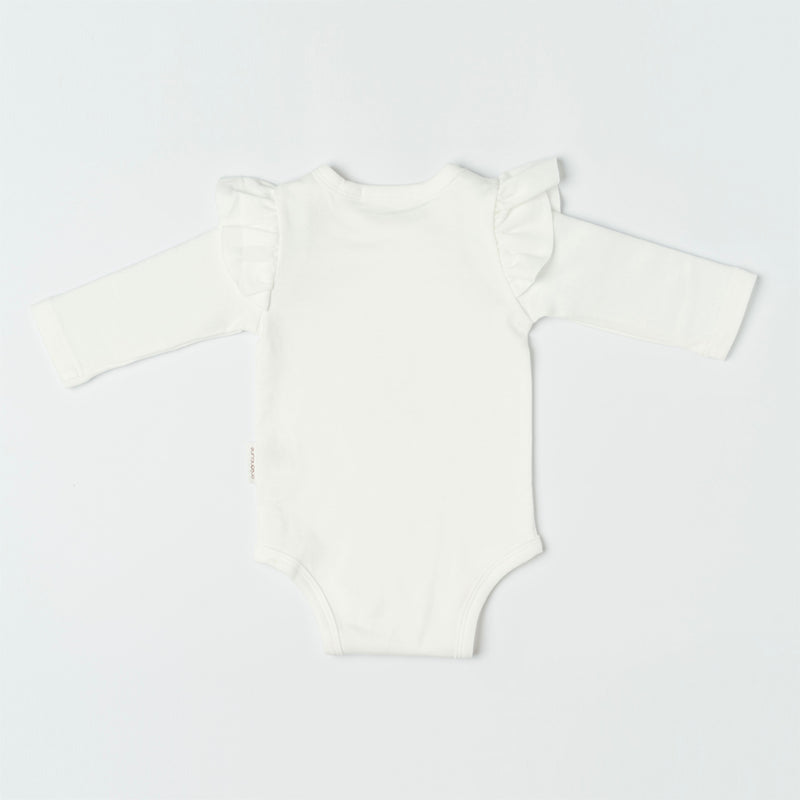 Organicline flamingo long sleeve bodysuit back view. Softly made from 100% GOTS certified organic.