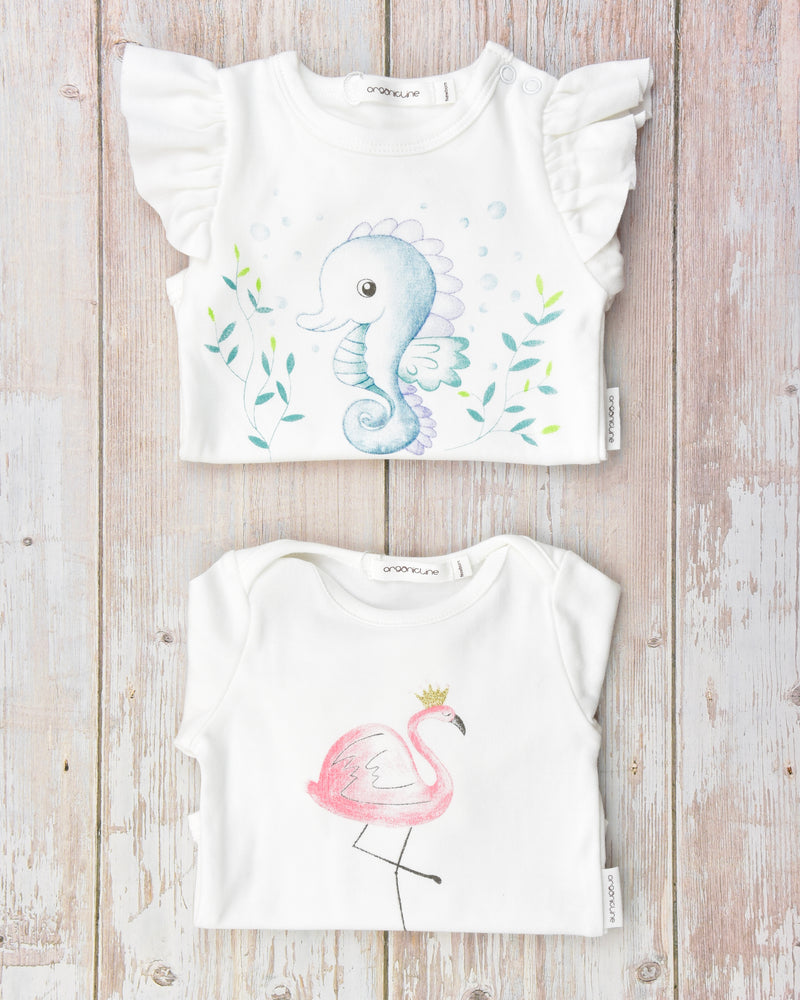 Organicline baby girl bodysuits value pack. Save 20%. 100% GOTS certified organic cotton.