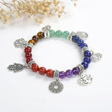 7 Chakra Gemstone Bracelet With 7 Charms, BRT2030CH