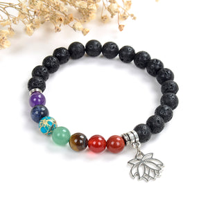 7 Chakra Gemstone Lava Bracelet with Lotus Flower Charm, Brt2026