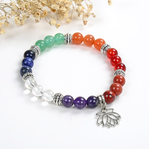 7 Chakra Gemstone Bracelet with Lotus Flower Charm, Brt2020