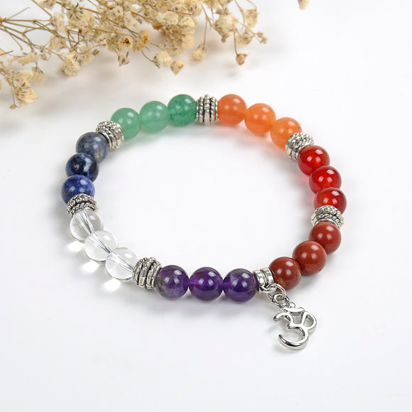 7 Chakra Gemstone Bracelet with Ohm Charm, Brt2023