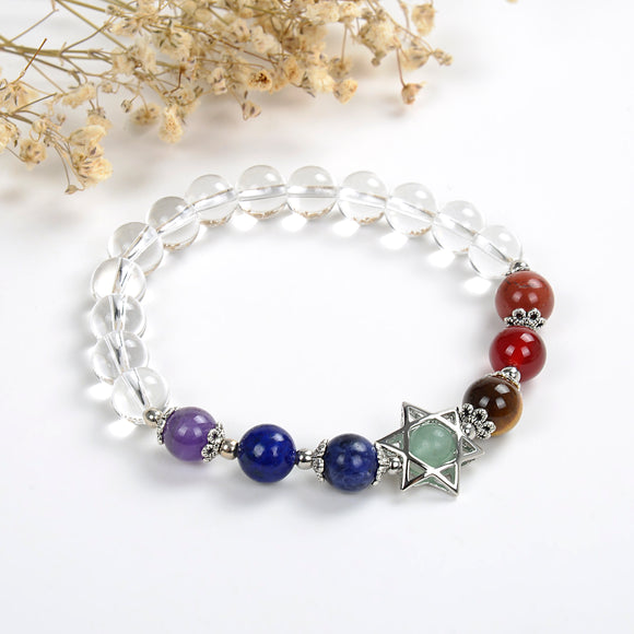 7 Chakra Clear Quartz Beads Bracelet, Star-Of-David Bead&Charm, BRT2019CH