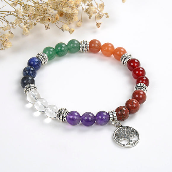7 Chakra Gemstone Bracelet With Tree Of Life Charm, Brt2022