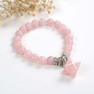 Rose Quartz Bracelet with Merkaba Star Bead, Brt2028
