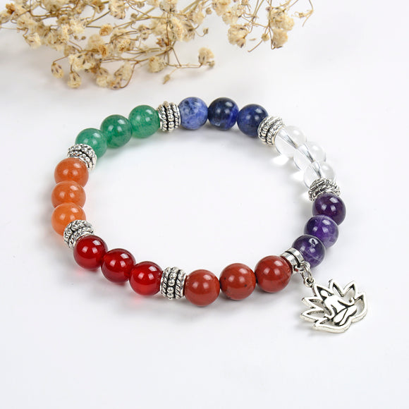 7 Chakra Gemstone Bracelet with Buddha-In-Lotus Charm, BRT2013CH