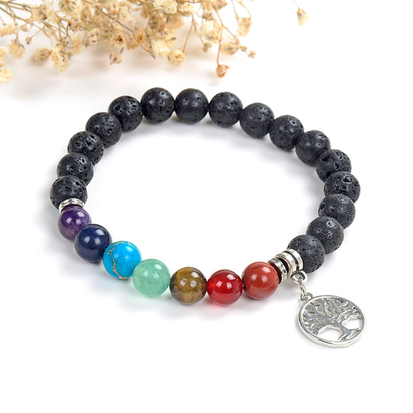 7 Chakra Gemstone Lava Bracelet with Tree Charm, Brt2014