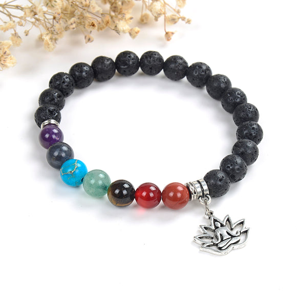 7 Chakra Gemstone Lava Bracelet with Buddha In Lotus Charm, Brt2016