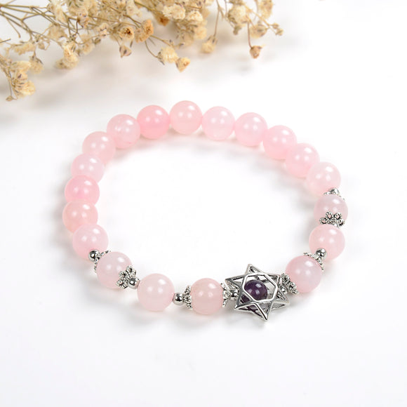 Rose Quartz Bracelet With Star Of David Charm&Bead, Brt2021