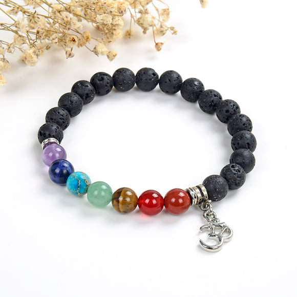 7 Chakra Gemstone Lava Bracelet with Ohm Charm, Brt2025