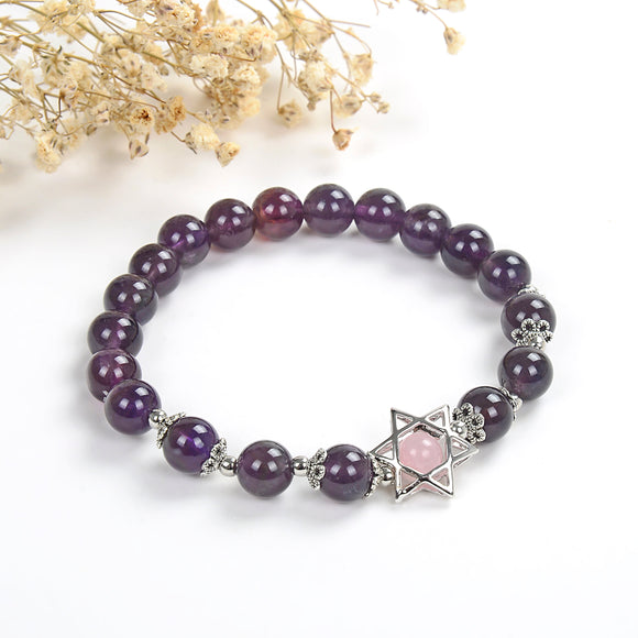 Amethyst Round Bead Bracelet With Star Of David Bead&Charm, Brt2027